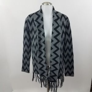 Olive & Oak Sweater S Cardigan Chevron Fringe Stri